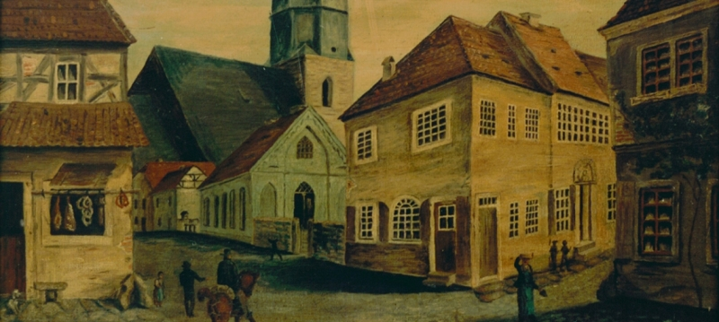 St. Petri church, Lutherarmenschule and Luther's Birthplace, around 1830