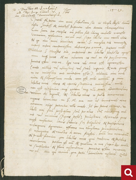 Martin Luther, Letter to Emperor Charles V, 1521